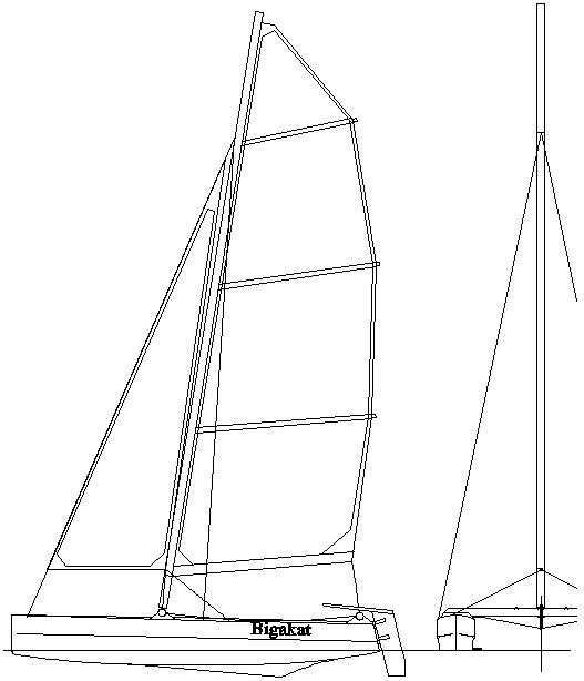 Bigakat 12 wood or fiberglass catamaran