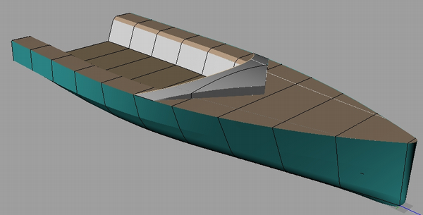 DS15 radius chine plywood sportboat 3D view