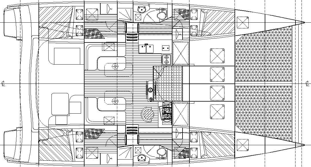 Dix 430 catamaran accommodation plan