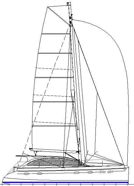 Dix 430 catamaran sail plan