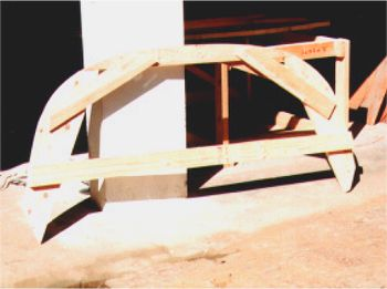 Example of temporary Pine frame from which the mould was constructed.